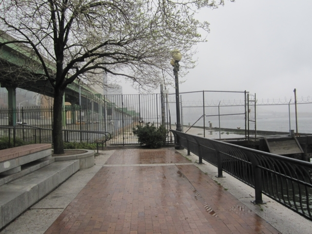 The East River esplanade abruptly stops at the abandoned Pier 38, a former Con Edison pier along the East River from East 38th to 41st street.