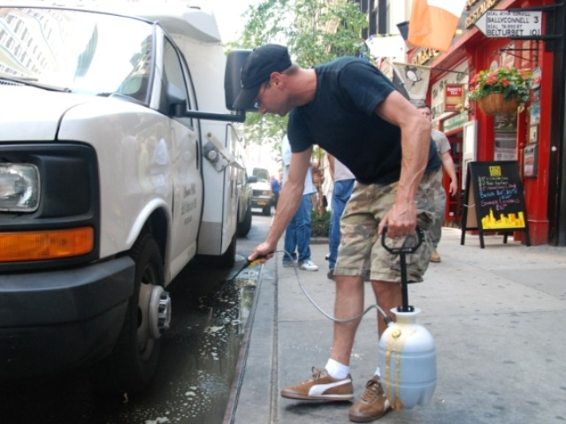 Todd Koplin, 37, says his solution will neutralize the smelly puddle's smell.