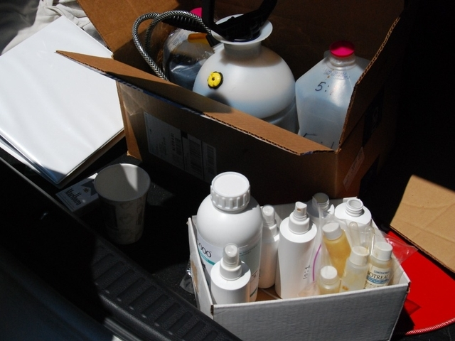 Todd Koplin's trunk, filled with odor-busting supplies.
