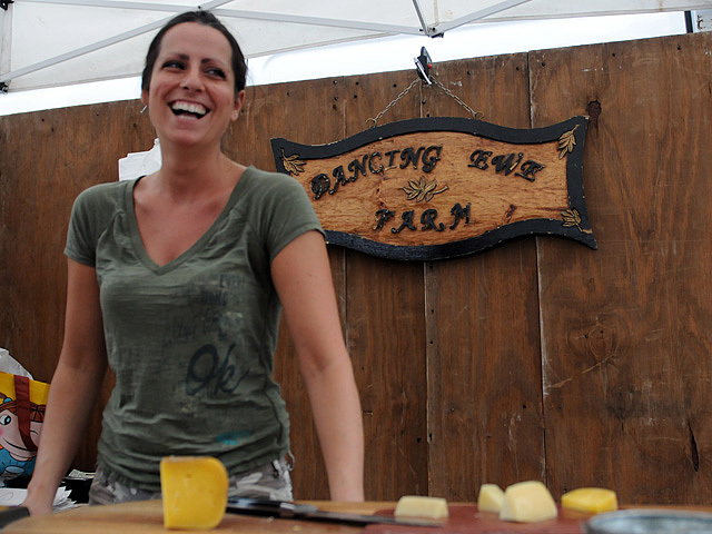 Luisa Somers, 32, at her cheese stand at the Union Square farmers' market on July 8, 2011.