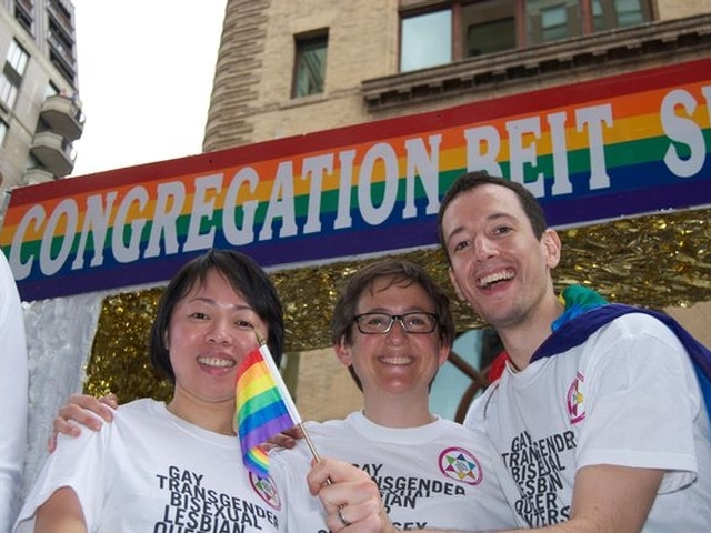 Congregants of Beit Simchat Torah celebrated gay pride. The congregation is the world's largest LGBTQ synagogue. Rabbi Sharon Kleinbaum (center), Senior Rabbi at CBST, celebrated with congregants.