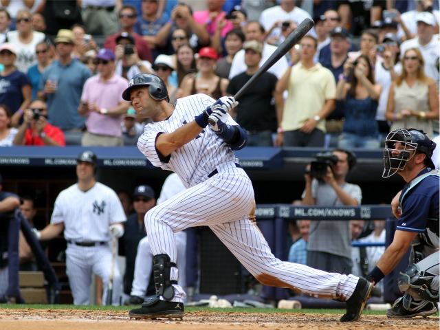 Derek Jeter hits a solo home run in the third inning for career hit 3,000 while playing against the Tampa Bay Rays at Yankee Stadium on July 9, 2011. A new series of plays about Jeter will debut at the Algonquin Seaport Theater in late September 2011.