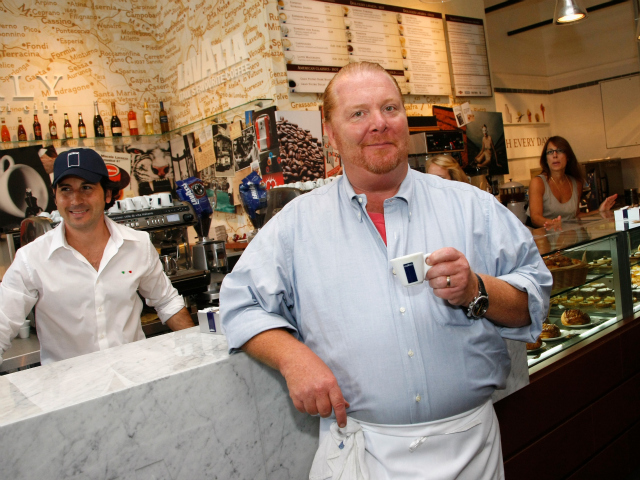 <p>Chef Mario Batali samples coffee during a tour of Eataly in 2010.</p>