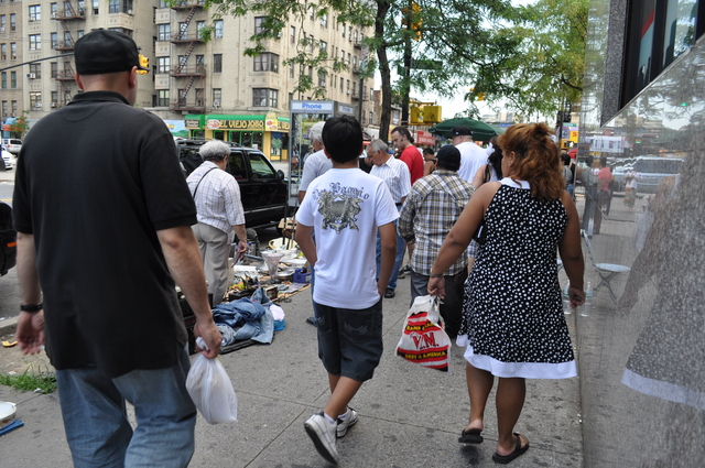Street vendors line streets in Washington Heights.