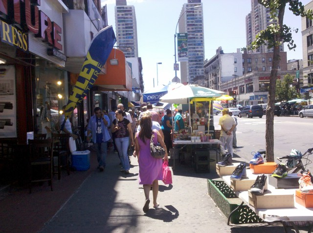 Street vendors on St. Nicholas Avenue near 181st Street.