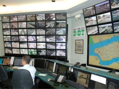 Inside the Department of Transportation's traffic management hub in Queens, where real-time data is analyzed.