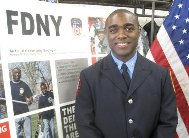 Harlem resident and firefighter Khalid Baylor responded to an application he received at a street fair. Eight years later, he's one of the faces of the FDNY's diversity recruitment campaign.
