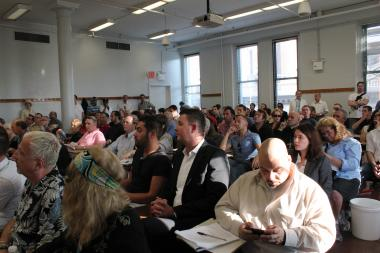 The crowd at Community Board 2's SLA subcommittee meeting last Thursday night.