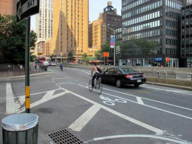 The intersection at East 48th Street and First Avenue is a tricky one for bicycles and vehicles to safely navigate, said Bruce Silberblatt, of the Turtle Bay Association.