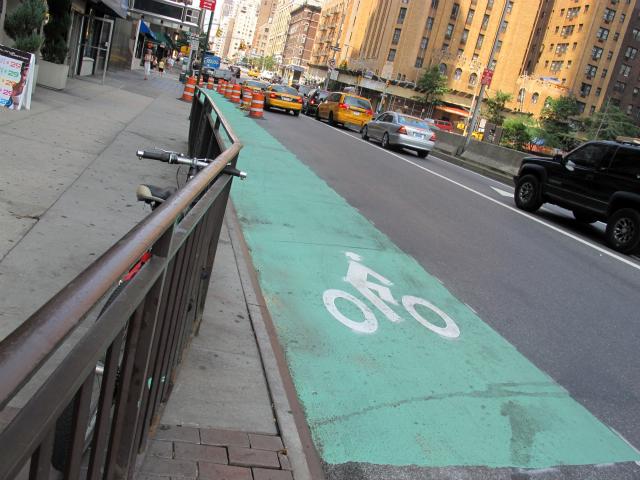 A freshly painted bike lane