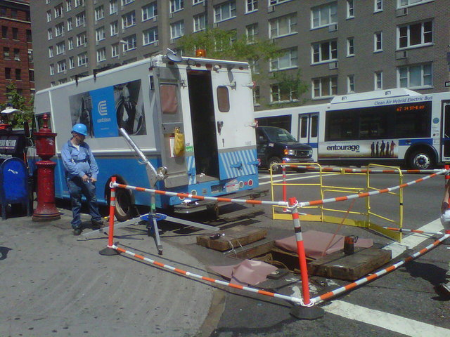 Con Ed workers responding to a power outage at 14th Street and Seventh Avenue on July 22.