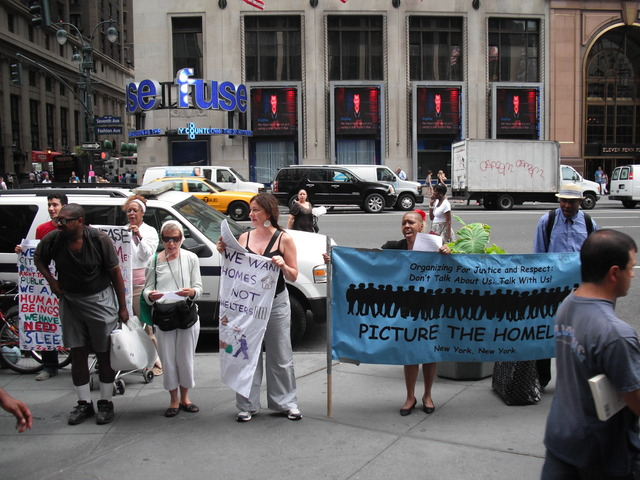 Homeless advocates protested at Penn Station Monday, July 25.