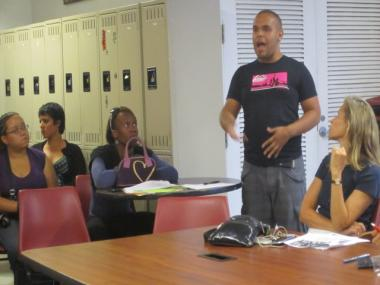 FIERCE organizer John Blasco presents the needs and concerns of his organization at a July 25, 2011 community meeting.