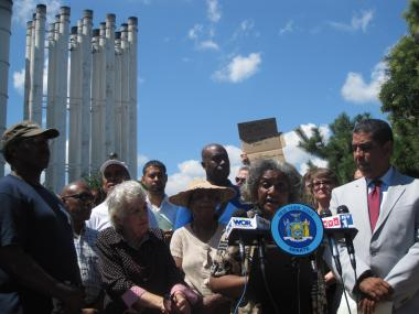 L. Ann Rocker, president of the Friends of Riverbank Park, and State Senator Adriano Espaillat called for a hearing into the cause of the fire that shutdown the North River Wastewater Treatment Plant last week.