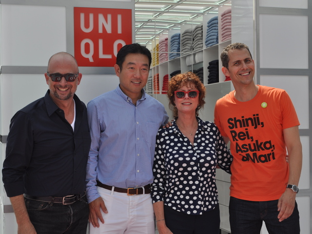 <p>Joshua David, Shin Odake, Susan Sarandon, and Robert Hammond welcomed visitors to the rink at the High Line Thursday, July 28, 2011.</p>