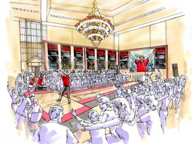 A rendering of what Vanderbilt Hall will look like during the Teen Masters event.
