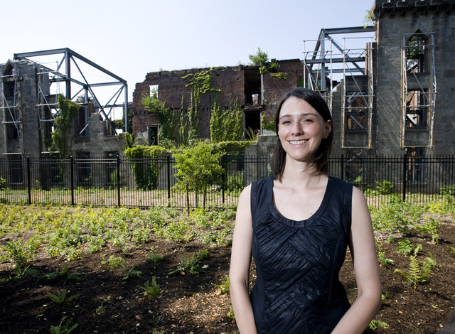 <p>Councilwoman Jessica Lappin in front of the remains of James Renwick Smallpox Hospital, the focal point of Southpoint Park and New York City&rsquo;s only landmarked ruins.</p>