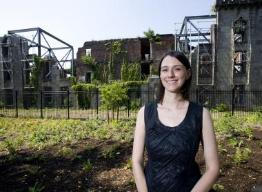 Councilwoman Jessica Lappin in front of the remains of James Renwick Smallpox Hospital, the focal point of Southpoint Park and New York City's only landmarked ruins.