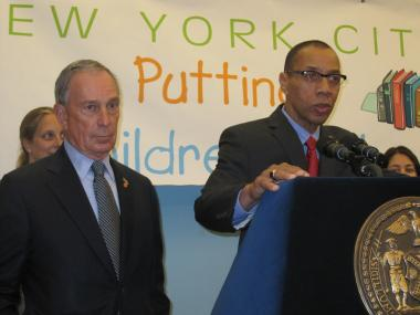 Mayor Michael Bloomberg and Schools Chancellor Dennis Walcott at Tweed on Aug. 3 announcing the January Regents will be paid for with private funds.