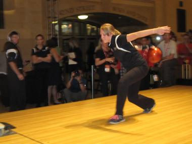 Melanie Hannon fires her ball down the lane at the 14th Annual Teen Masters Bowling Championship.