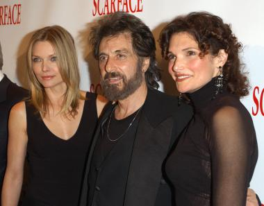 Actors Michelle Pfeiffer, Al Pacino and Mary Elizabeth Mastrantonio arrive at the 20th anniversary re-release celebration of the movie 'Scarface' at City Cinemas Theaters September 17, 2003 in New York City. The movie turns 30 this year.