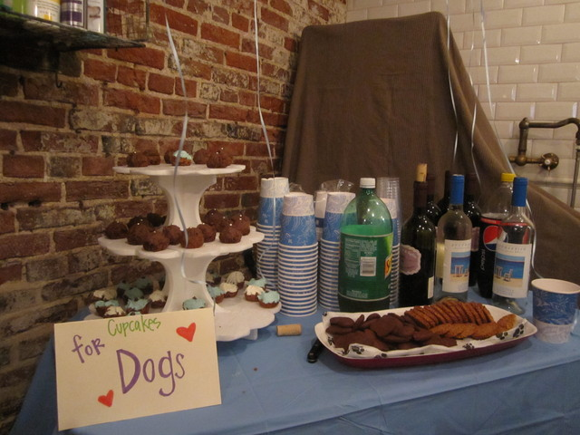 Dogs enjoyed cupcakes while their owners drank wine at Puppy Prom.