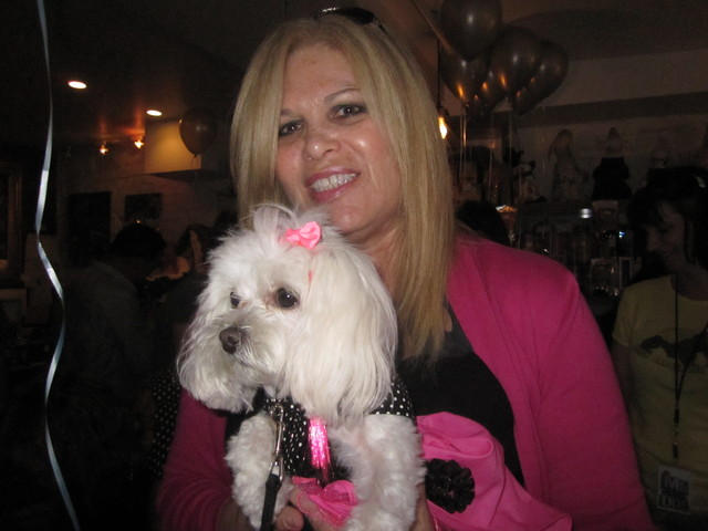 ZZ, a Maltese-poodle mix, with owner Ilene Zeins.