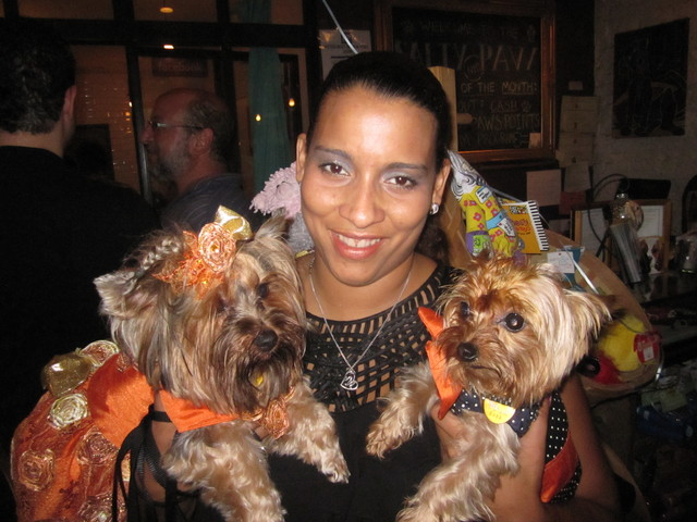 Marlene Hungria with her two Yorkshire terriers.