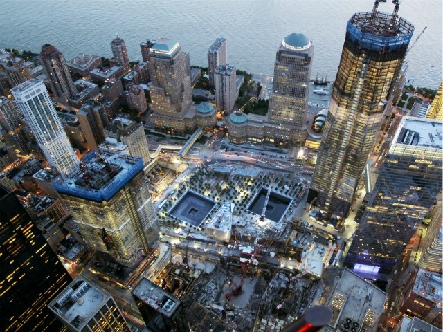 Tower 4 (left) and One World Trade Center flank the site in this picture taken on Aug. 12, 2011.