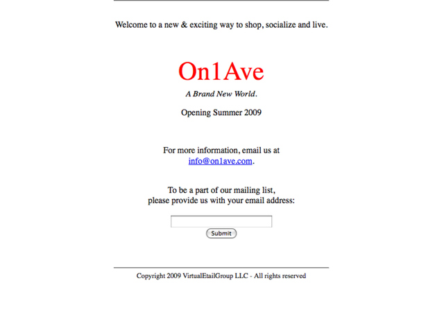 On1Ave.com, the virtual marketplace that Andrew Albert allegedly used to defraud investors.