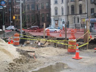 The site of the street collapse at St, Nicholas Avenue and 152nd Street.
