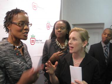 Arva Rice, president and CEO of the New York Urban League, with Sen. Kirsten Gillibrand, both called for the passage f the Urban Jobs Act.