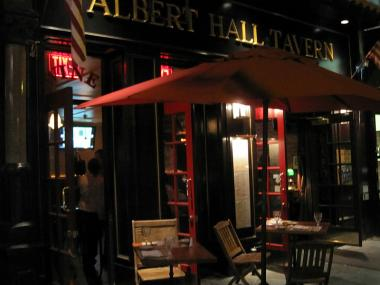 The disputed cafe at Albert Hall takes up a large chunk of the sidewalk.