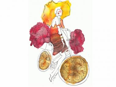 An illustration by designer Emily Saunders, who also participated in the Sidewalk Catwalk project.