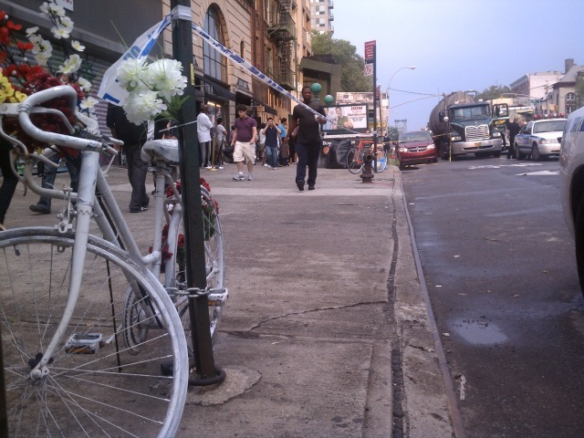 A ghost bike honoring Rasha Shamoon, who was killed on Aug. 5, 2008 on Delancey Street, sits just yards from where a cyclist was killed by a truck on Aug. 18, 2011.
