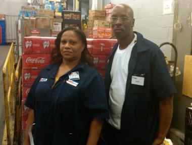 Flame Washington and Keith Jefferson are both 25-year Pathmark employees. They work at the store's East Harlem location on Lexington Avenue and 125th Street.