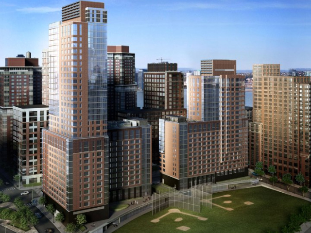 The Asphalt Green community center will face the Battery Park City ball fields in the base of two apartment towers.