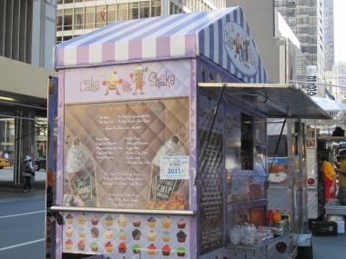 The new Cake vs. Shake cart on West 53rd Street and Sixth Avenue.