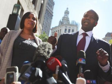 Nafissatou Diallo, left, the hotel maid who accused former IMF director Dominique Strauss-Kahn of sexual assault, stands with her attorney Kenneth Thompson after a meeting at the Manhattan District Attorney's office on August 22, 2011 in New York City.