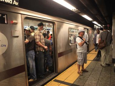 J and M service was disrupted between Essex Street and Marcy Avenue Tuesday because of police activity.