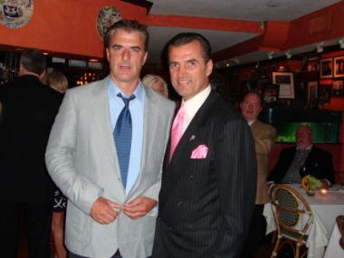 Actor Chris Noth (left) and Nino's owner, Nino Selimaj, at the celeb-favorite, Nino's on the Upper East Side.