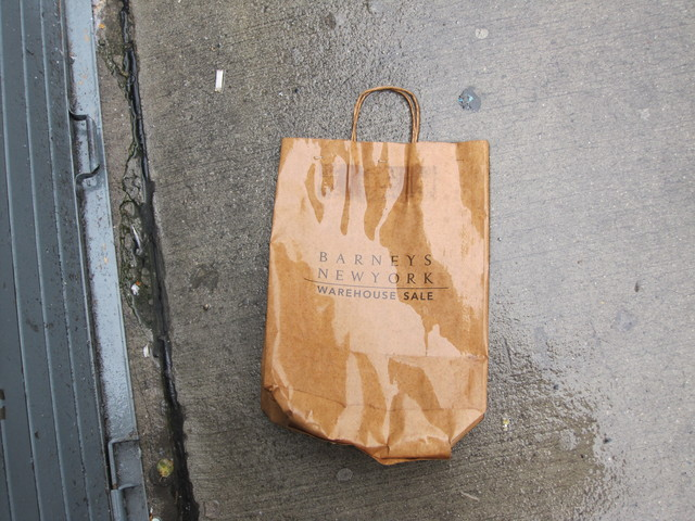 <p>A discarded Barneys bag on West 17th Street.</p>