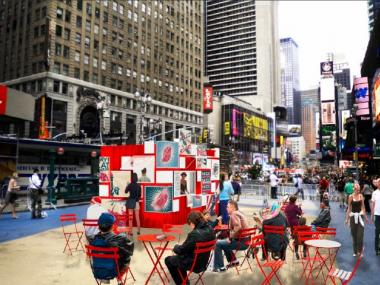 A rendering of the new Rickshaw Dumpling food cart, which is set to grace Times Square.