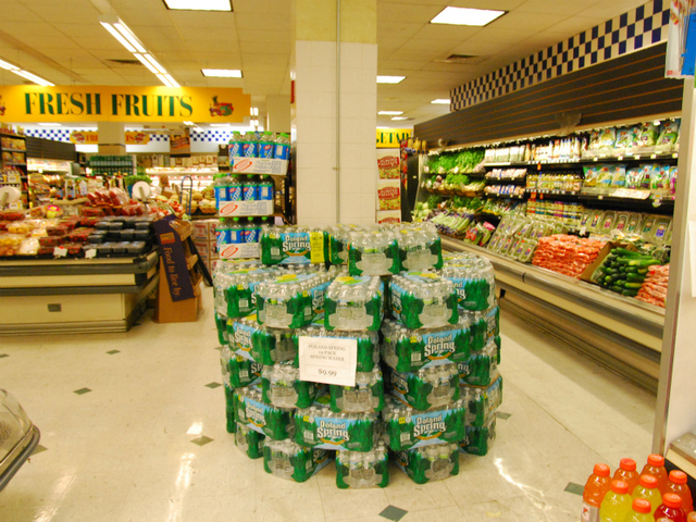 An extra display of bottled water at Gristedes in Chelsea.