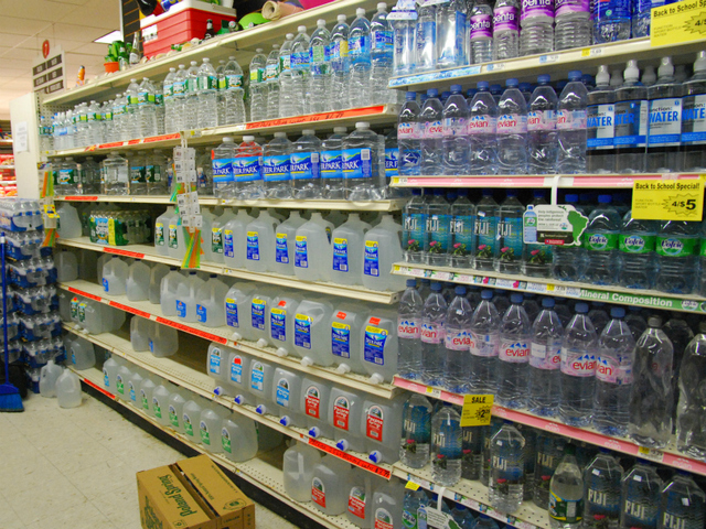 The Chelsea Gristedes Mega Store's bottled water section began to get hit on the morning of Friday, Aug. 26, 2011, as residents prepared for a possible hurricane.