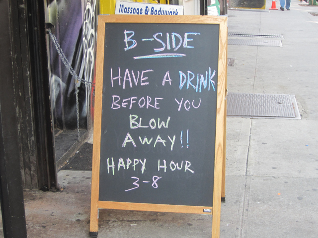 A sign outside B-Side bar on Friday, Aug. 26, 2011.