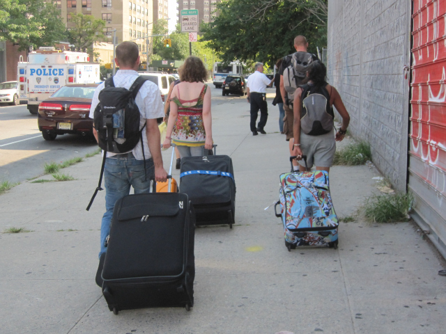 A group of Belgian tourists arrived in the East Village only to learn that their hostel was in an evacuated area.
