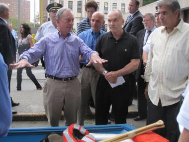 Mayor Michael Bloomberg and Police Commissioner Ray Kelly inspected a row of police rescue boats in Brooklyn ahead of Hurricane Irene.