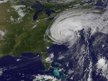 Hurricane Irene churns of the east coast of the United States, August 27, 201, in the Atlantic Ocean. Irene, now a Category 1 storm, has started to lash the eastern coast of the U.S.
