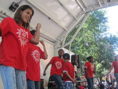 Dancers at the El Barrio/East Harlem Youth Violence Task Force's annual youth fair Tues., Aug. 30, 2011.